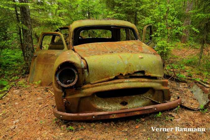 En rusten bil i skoven