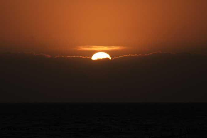 Solnedgang ved Højer sluse